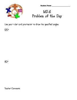 Common Core Aligned Problems of the Day:  Angles