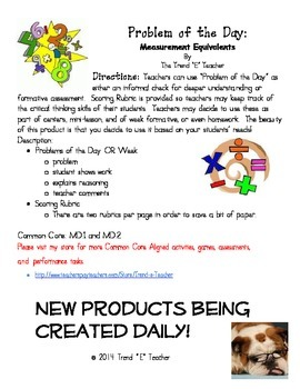 Common Core Aligned Problems of the Day:  Measurement Conversions