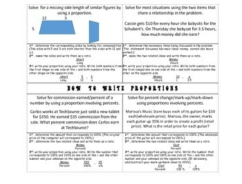 Proportions Foldable Notes ~Common Core Aligned to 7.RP.2 & 7.RP.3
