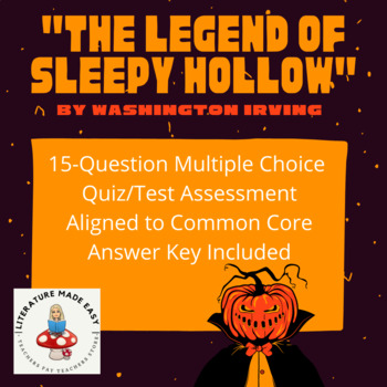 "Common Core Aligned Quiz/Test for ""The Legend of Sleepy Hollow"""