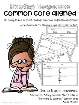Common Core Aligned Reading Response 1/2 Sheets