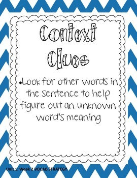 Common Core Aligned Reading Skills Posters Unit 1 Weeks 2-5