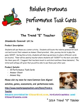 Common Core Aligned Relative Pronouns Performance Task Cards