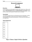 Common Core Aligned Research Project with Rubrics