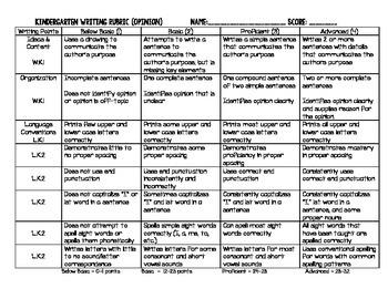 Common Core Aligned Rubric - Opinion Writing