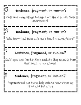 Sentence, Fragment, or Run-on? Owl Facts Task Cards