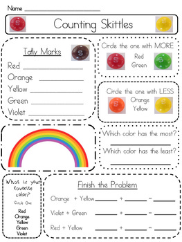 Common Core Aligned Skittles Rainbow Graphing MATH CENTER