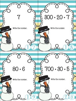 Snowman Place Value Scoot