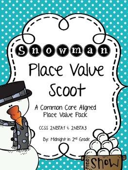 Snowman Place Value Scoot