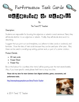 Common Core Aligned Task Cards:  Adjective or Adverb?