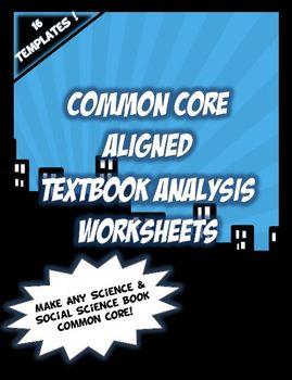 ANY TEXTBOOK COMMON CORE! Textbook Analysis Worksheets: So