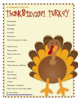Common Core Aligned Thanksgiving Poem Set- Inference, Questioning, and Writing