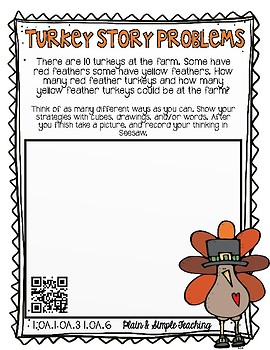 Common Core Aligned Thanksgiving Story Problems