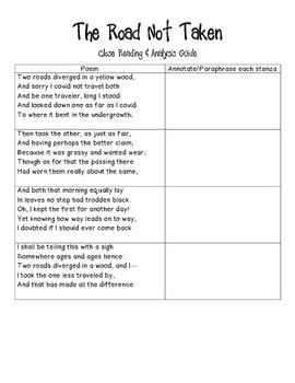 Common Core-Aligned The Road Not Taken Poetry Analysis