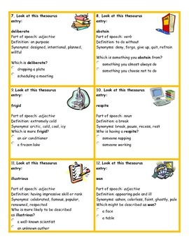 Common Core Aligned Thesaurus Task Cards
