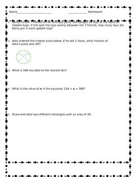 Common Core Aligned Third Grade Review Homework