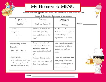 Common Core Aligned Weekly Homework Menu's (PinkTheme)