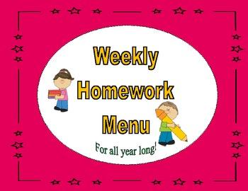 Common Core Aligned Weekly Homework Menu's (PinkTheme)