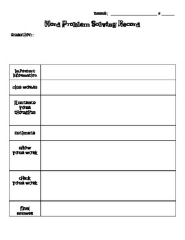 Common Core Aligned-Word Problem Solving Record