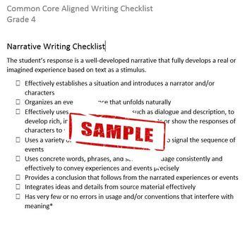 Common Core Aligned Writing Checklist (Grade 4)