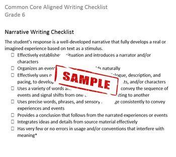 Common Core Aligned Writing Checklist (Grade 6)