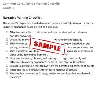 Common Core Aligned Writing Checklist (Grade 7)