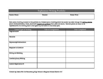 Common Core Aligned Writing Portfolio for 10th Grade