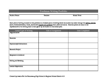 Common Core Aligned Writing Portfolio for 9th Grade
