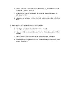Common Core Aligned quiz on chapters 4, 5 and 6 from the novel Iqbal
