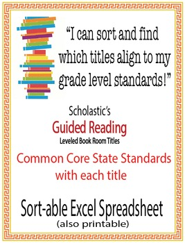 Kindergarten Common Core Standards w/ Scholastic Guided Reading Book Room Titles