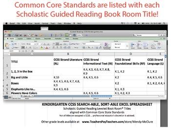 Kindergarten Common Core Standards w/ Scholastic Guided Re