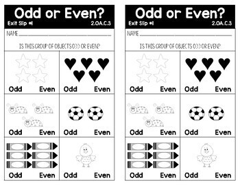 Common Core Alined Odd/Even, Comparing Numbers, and Ordering Numbers Exit Slips