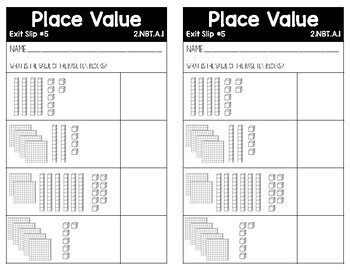 Common Core Alined Place Value Exit Slips and Test
