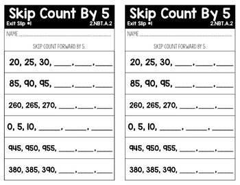 Common Core Alined Skip Counting Exit Slips and Test