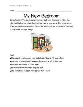 Common Core Alligned Area and Perimeter New Bedroom Project