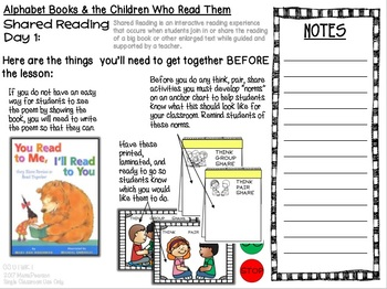 ALPHABET BOOKS and the CHILDREN WHO READ THEM: Week 1 Lesson Plans