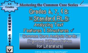 Common Core Analysis Cards 6, 7, 8 RL.5 Analyzing Text Features & Structures