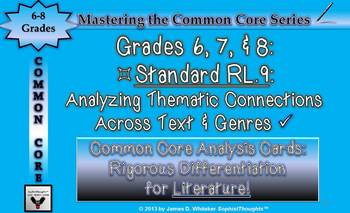 Common Core Analysis Cards 6, 7, 8 RL.9 Analyzing Thematic Connections
