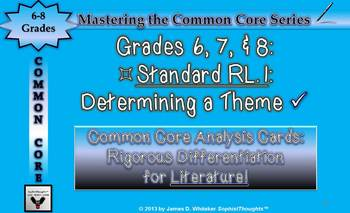 Common Core Analysis Cards 6, 7, 8 RL.1 Citing Text Evidence