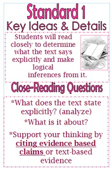 Reading Standards-5 LARGE Posters with Questions-Common Core