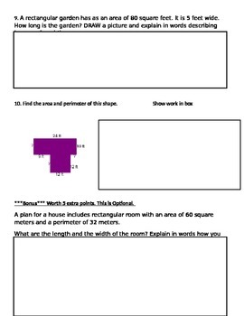 Common Core Area and Perimeter Assessment