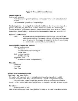 Common Core Area/Perimeter Task