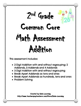Common Core Math Assessment: 2 and 3 Digit Addition