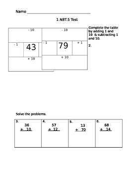 Common Core Assessment 1.NBT.5