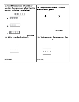 Common Core Assessment MAFK.K.CC3.6 MAFK.K.CC3.7