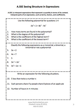 Common Core Assessment Warm Up Math Algebra Seeing Structures Expressions A.SSE