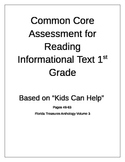 Common Core Assessment for Reading Informational Text 1st Grade