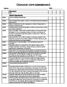 Common Core Assessment packet for Kindergarten