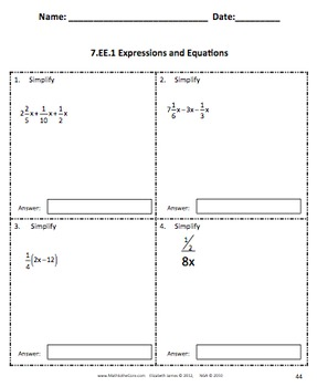 common core assessments math 7th seventh grade expressions equations 7 ee. Black Bedroom Furniture Sets. Home Design Ideas
