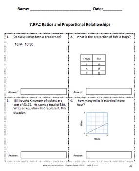Common Core Assessments Math - 7th - Seventh Grade - Ratios and Proportions 7.RP